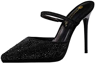 iMaySon Womens European Sexy Rhinestone Slippers Pointed Heeled Pumps Thin High Heels Ankle Strap Sandals