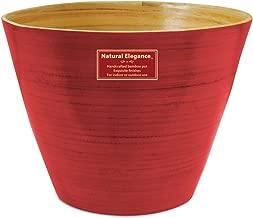 Listo Natural Elegance Bamboo Planter, 8-Inch, Tangerine Tango