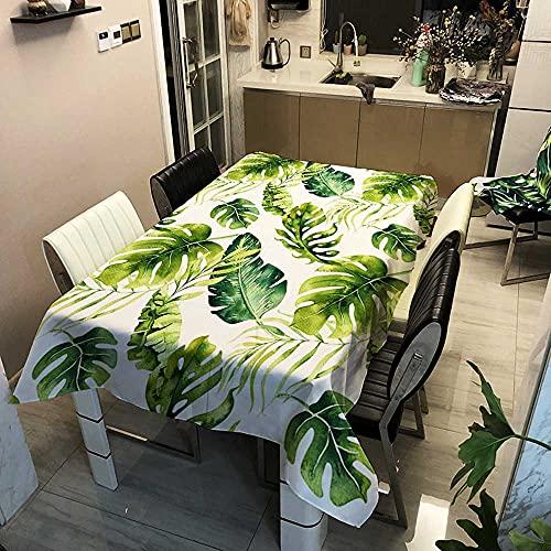 XXDD Manteles rectangulares Impermeables de la Serie Forest, árbol Verde, Flores y pájaros, Mantel de café, té, decoración, Cubierta de Mesa A14 140x160cm