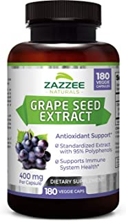 Zazzee Grape Seed Extract, 180 Veggie Caps, 400 mg, 6 Month Supply, Minimum 95% Proanthocyanidins, Vegan, Non-GMO and All Natural