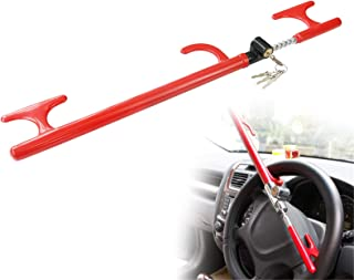 OKLEAD Anti-Theft Steering Wheel Lock Handbrake Lock Adjustable Twin Hooks Lock Security for Truck Car SUV Tractor Golf Cart photo