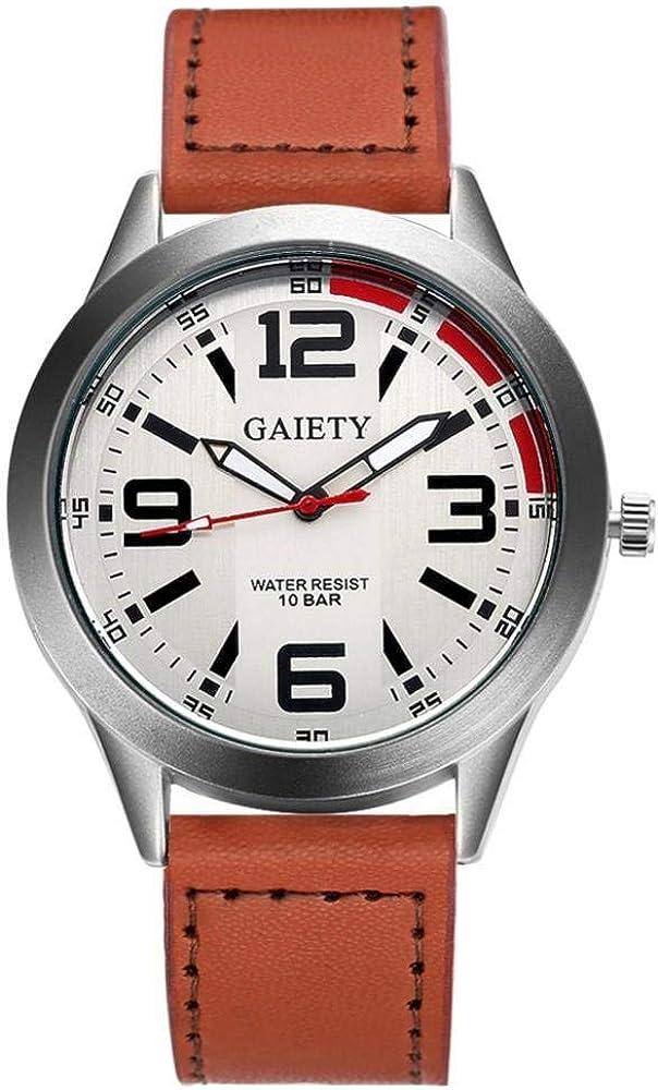 Gaiety G119 - Reloj de Pulsera para Hombre, Elegante, de Cuarzo, Casual, Ocio, Reloj de Pulsera de Piel, Esfera Redonda, analógica