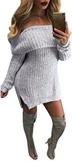 FAPIZI ♥ Women Dress ♥ Women Casual Long Sleeve Loose Knitted Jumper Off The Shoulder Sweaters Dress
