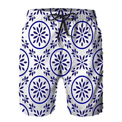 Pantalones Cortos De Playa para Hombres,patrón de baldosas de cerámica decoración de Porcelana sin Costuras,Pantalones De Chándal De Secado Rápido, Bañador De Verano para Ejercicios Al Aire Libre XL