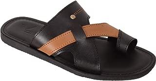 VONZO Men Black Slip On Sandal Chappal with Toe