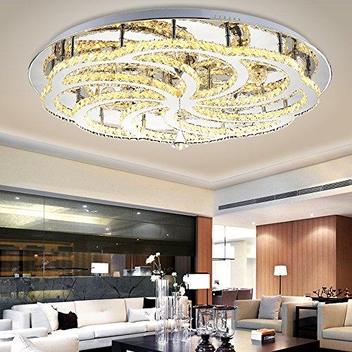 LED Kristall Deckenlampe 50W Moderne Kreative Design LED Lampen Rund Starlight Decken Beleuchtung Schlafzimmer Kristallleuchte Deckenleuchte für Wohnzimmer Esszimmer Schönes Dekor, Warmweiß Ø55cm