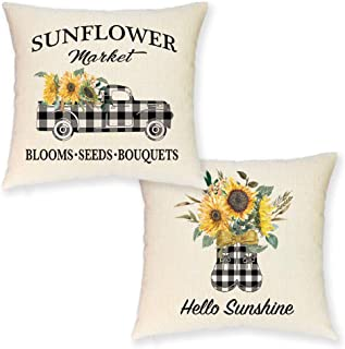 JYNHOOR Set of 2 Farmhouse Sunflower Pillow Covers –18x18 Inch Buffalo Plaid Truck Sunflower Pillow Covers for Summer Home Decor-Fall Decorative Pillowcase