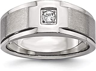 Lex & Lu Chisel Stainless Steel Brushed and Polished w/CZ Ring