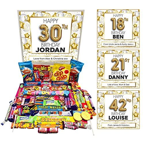 Personalised Happy Birthday Retro Sweets Gift Box Hamper - Customise Any Age, Name and Gift Message - Ultimate Classic Sweet Pick N Mix - 16th 18th 21st 30th 40th 50th 60th
