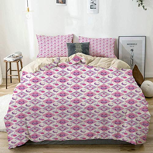Duvet Cover Set Beige,Baby Checkered Pattern Owls Print, Decorative 3 Piece Bedding Set with 2 Pillow Shams