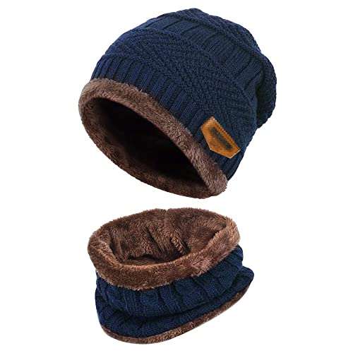 Aisprts Winter Beanie Hat Scarf Set Warm Knit Hat Thick Knit Skull Cap  Outdoor Sports Hat 8377fdb7697
