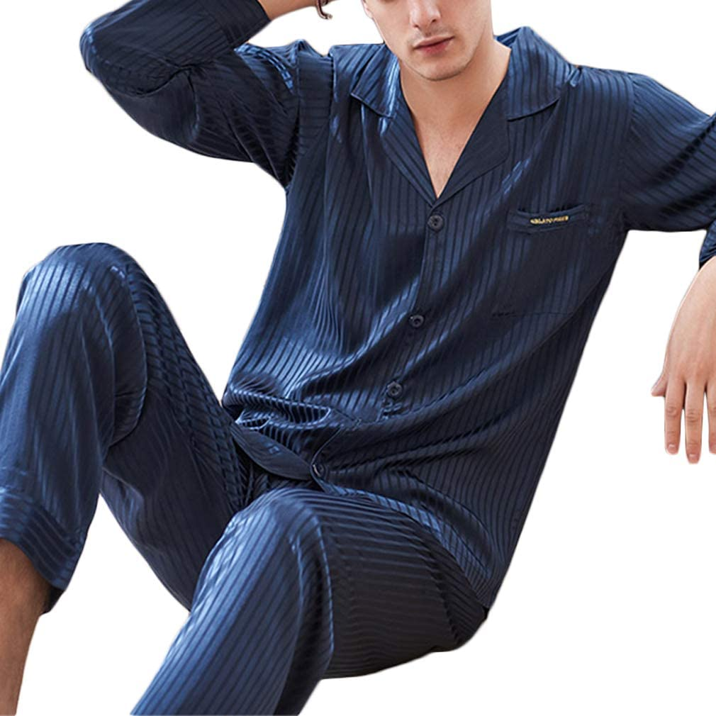 Nunubee Faux Silk Pajamas Set Long Sleeve Sleepwear Solid Stripe Loungewear with Top & Pants/Bottoms Man - Dark Blue - XXL