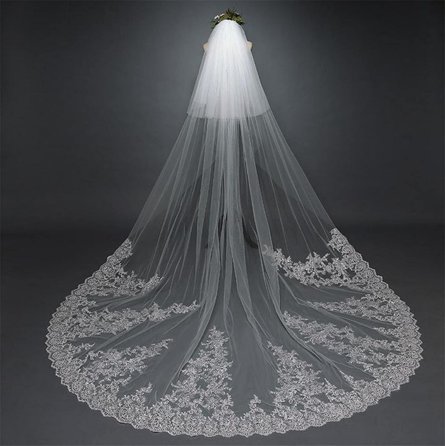 Bridal Veil White 3.0M Length Embroidered Sequins Lace Applique Lace Wedding Veil Long Bride Veils