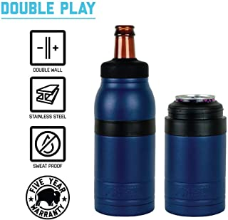 BISON COOLERS 2 in 1 Can & Bottle Insulated Cooler Thermos | Vacuum Insulated Stainless Steel Beer Bottle/Can Cooler 12 oz (Double Play) (Navy)