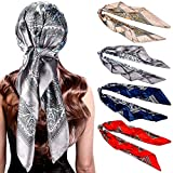4 Pieces 35 Inch Satin Head Scarves Large Square Scarves Silk Feeling Square Satin Head Scarf Boho Hair Bandanas Head Scarves for Women (Classic Pattern)