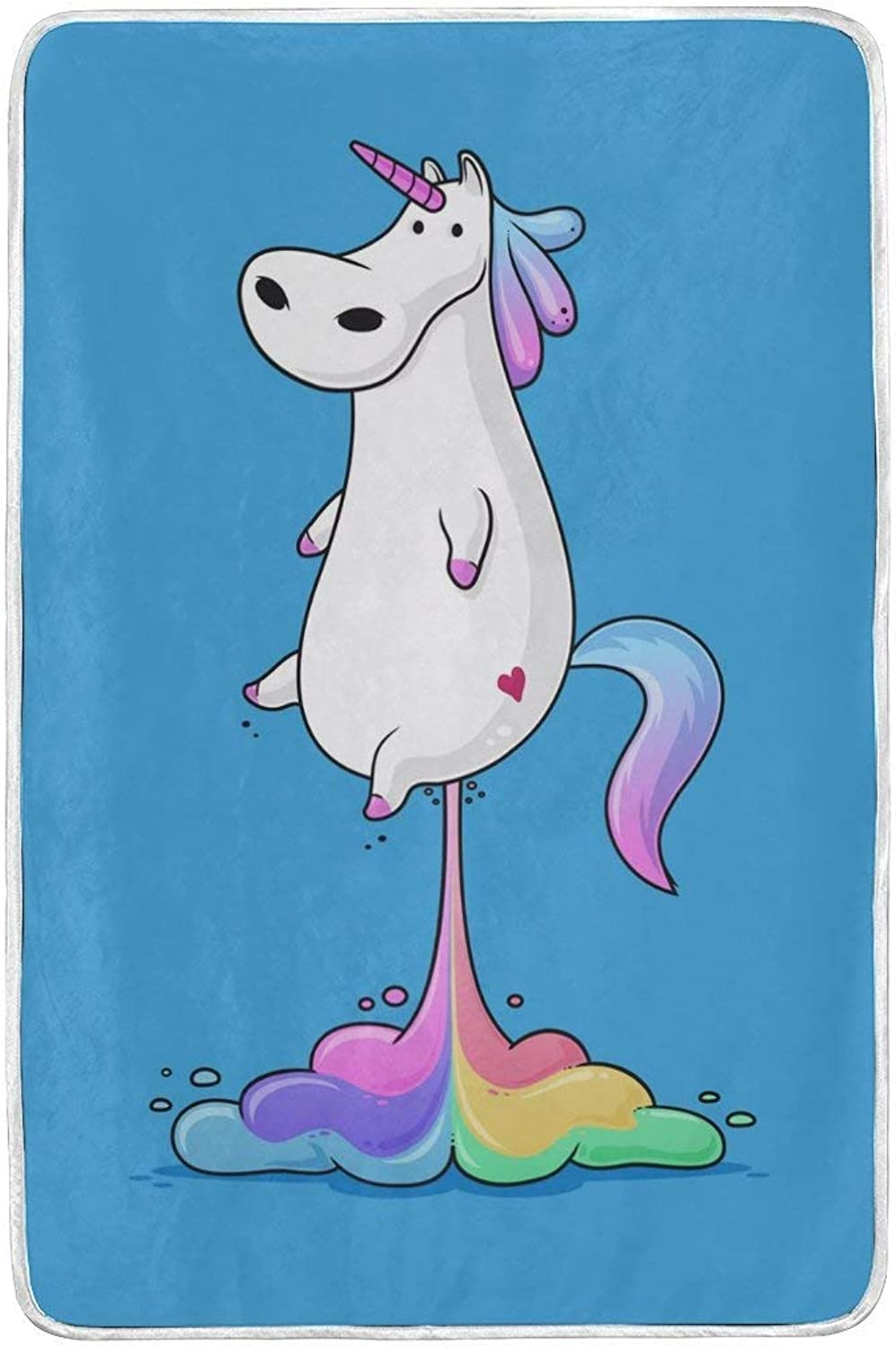 ALAZA Rainbow Unicorn Plush Throws Siesta Camping Travel Fleece Blankets Lightweight Bed SOFE Size 60x90inches