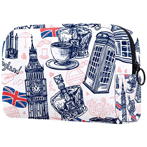 Bolso de Cosméticos Londres, Inglaterra Viaje de Maquillaje Organizador de Almacenamiento Cosmético de la Bolsa de Trabajo para Las Mujeres 18.5x7.5x13cm