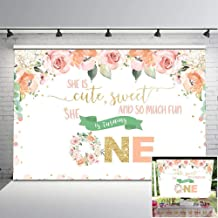 Mocsicka First Flower Birthday Backdrop Pink Floral Gold 1st Birthday Photo Background 7x5ft Cute Girl Birthday Party Printable Vinyl Backdrops