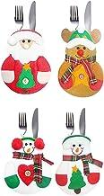 Baoblaze Pack of 4 Cute Santa Clus Christmas Tableware Silverware Cutlery Holder Home Decorations