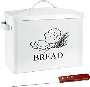 POZIEA Bread Box for Kitchen Countertop with Bread Knife, White Farmhouse Bread Storage Container, Extra Large Bread Holder for 2+ Loaves, Vintage Kitchen Décor Organizer