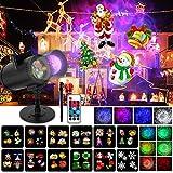 Wilktop Luces Proyector Navidad, Proyección de Olas Oceánicas 12 Diapositivas+10 Colores 2 en 1 Luces de Proyector IP65 Exterior Proyector con Control Remoto para Navidad, Halloween, Festivos, Fiesta.