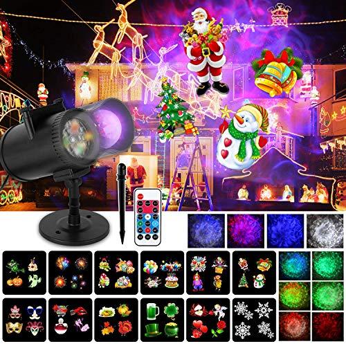 Wilktop Lampe de Projection de Noël, 12 Diapositives+10 Couleurs Projecteur de Lumière à Vagues LED Projecteur IP65 Extérieur avec Télécommande Projecteur pour Noël, Halloween, Les Fêtes de Famille