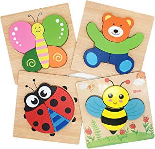 Tunery Wooden Animal Jigsaw Puzzles for Toddlers Toys for 1 2 3 Year Old, Boys & Girls Educational Toys Gift, Free Drawstring Bag for Easy Storage