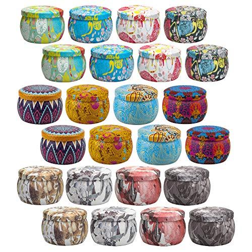 24 pcs Kerzendosen, Wiederverwendbare Leeren Kerze Behälter, Metalldose mit Deckel für die Kerzenherstellung, Mini Boxen für DIY Kerzen