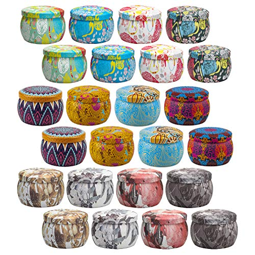 Kerzenbehälter 24er Pack, 4,4 Unzen, Kerzendosen DIY Kerzenherstellungszubehör, Metalldosen mit Deckel und exquisite Muster für Kerzenherstellung, Kunsthandwerk, Lagerung