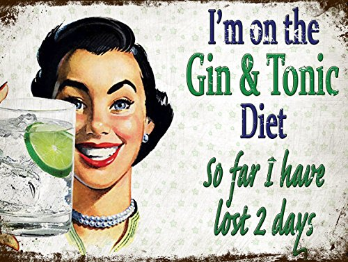 SHAWPRINT GIN & TONIC DIET VINTAGE STYLE METAL ADVERTISING WALL SIGN RETRO ART (21)