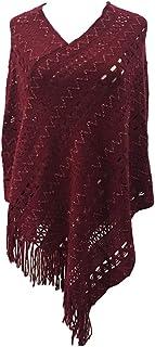 LvRao Elegant Crochet Knit V Neck Oversized Poncho Cape Cover-Ups Pullover Tops for Women
