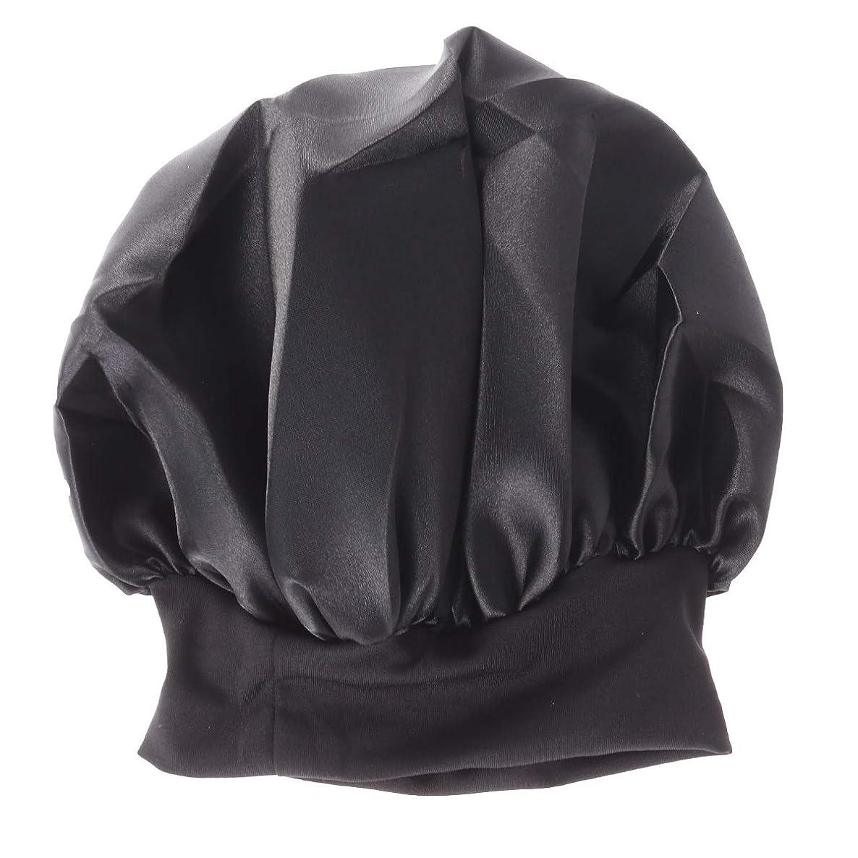 爆発物ユダヤ人からかうSUPVOX 女性用ナイトキャップワイドサイドボンネットキャップロングヘアビーニーキャップ56-58cm(ブラック)