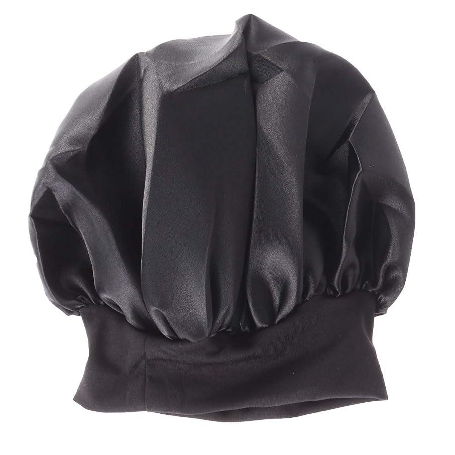 作成者樫の木プロペラHealifty 女性のサテンの寝袋サロンボンネットワイドバンド睡眠のための夜の髪の美しさ、巻き毛のような春の髪56-58 cm(ブラック)