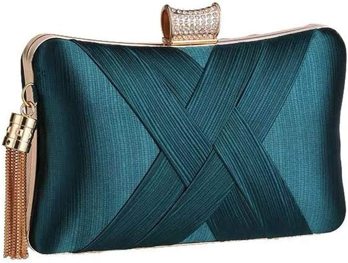 ZYLE Fringed Woven Evening Bag Banquet Clutch Bag Cheongsam Bridesmaid Bag, Suitable for Wedding, Party, Evening Bags (Color : Green)