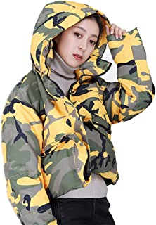 Women's Winter Down Jacket, Short Two Wear Loose Hooded Camouflage Thick Jacket Jacket,Yellow,S
