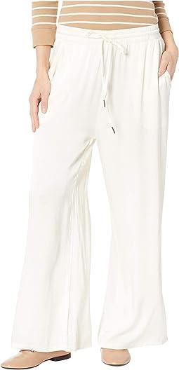 Satin Cropped Wide Leg Lounge Pants