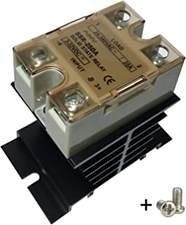 TIHOOD Solid State Relay 25A 3-32V DC 24-380V AC SSR-25DA + Heat Sink (DC to AC 25A)