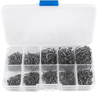 Homyl Kit de ganchos de peixe de aço carbono 300 peças, 10 tamanhos, gancho afiado prateado para pesca com orifício + caixa