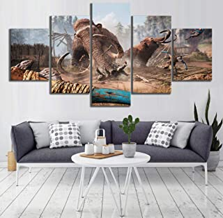 yisanwu 5 Piece Farcry Primal Mammuthus Primigenius Video Game Poster Canvas Art Hd Wall Pictures for Home Decor 10x15cmx2 10x20cmx2 10x25cmx1 Frame