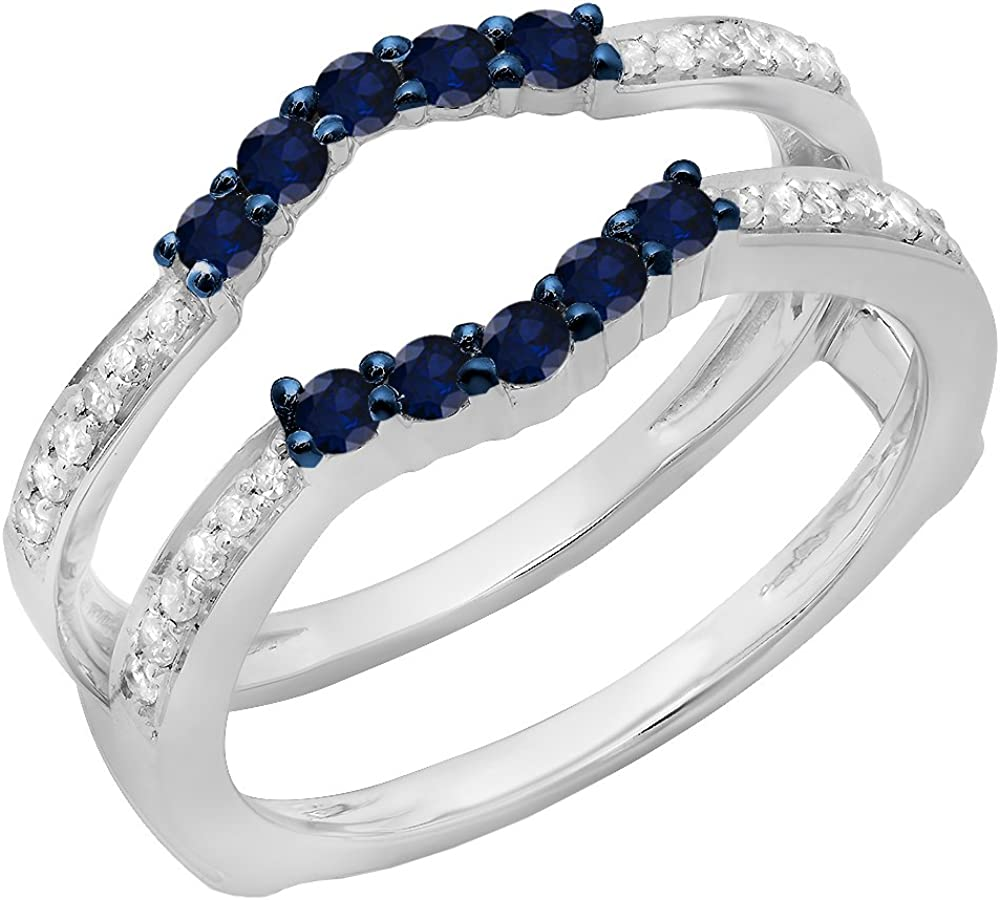 14K Gold Round Blue Sapphire & White Diamond Anniversary Wedding Band 5 Stone Enhancer Guard Double Ring