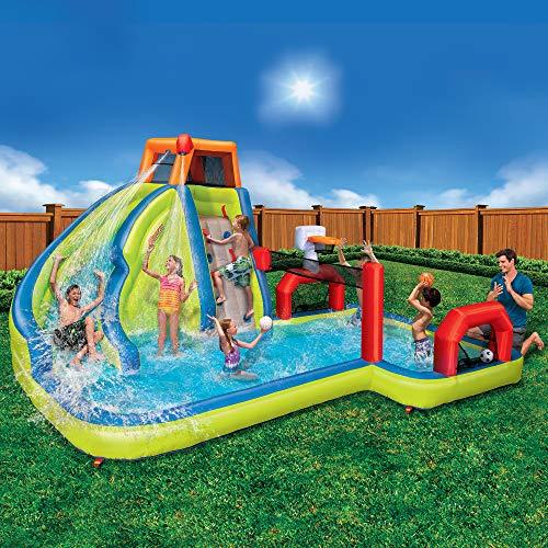 Banzai Aqua Sports 15' x 13' x 8' Kids Inflatable 3-in-1 Backyard Water Slide Splash Park w/ Climbing Wall, Basketball Hoop, Volleyball Court and Pool