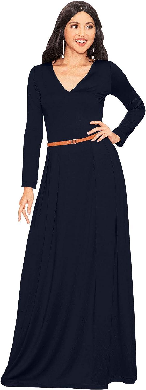 Koh Koh Women's VNeck Long Sleeve Elegant Cocktail Evening Formal Maxi Dress