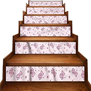 JiuYIBB Toys Stair Mural Stickers Teddy Bear and Squares Wallpaper Decor