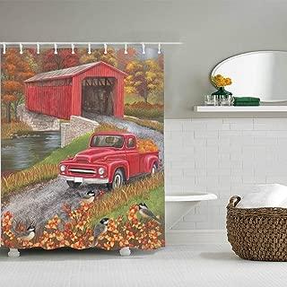 Bathroom Shower Shower Curtains with 10 Hooks, Bath Curtain Durable Polyester Fiber Fabric Bathroom Curtain (80