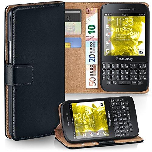 MoEx® Booklet mit Flip Funktion [360 Grad Voll-Schutz] für BlackBerry Q5 | Geldfach & Kartenfach + Stand-Funktion & Magnet-Verschluss, Schwarz