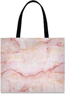 DOSHINE Einkaufstasche, Segeltuch, Marmor, abstrakt, Pink, wiederverwendbar, Einkaufstasche, Schulranzen, Handtasche für Damen, Mädchen