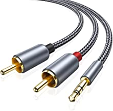 2 Pack RCA Cable, Oldboytech 3.5mm Male to 2RCA Adapter Audio Cable [6 Feet, Hi-Fi Sound] Nylon-Braided AUX Y Cord for Stereo Receiver Speaker Smartphone Tablet HDTV MP3 Player Echo�Dot & More