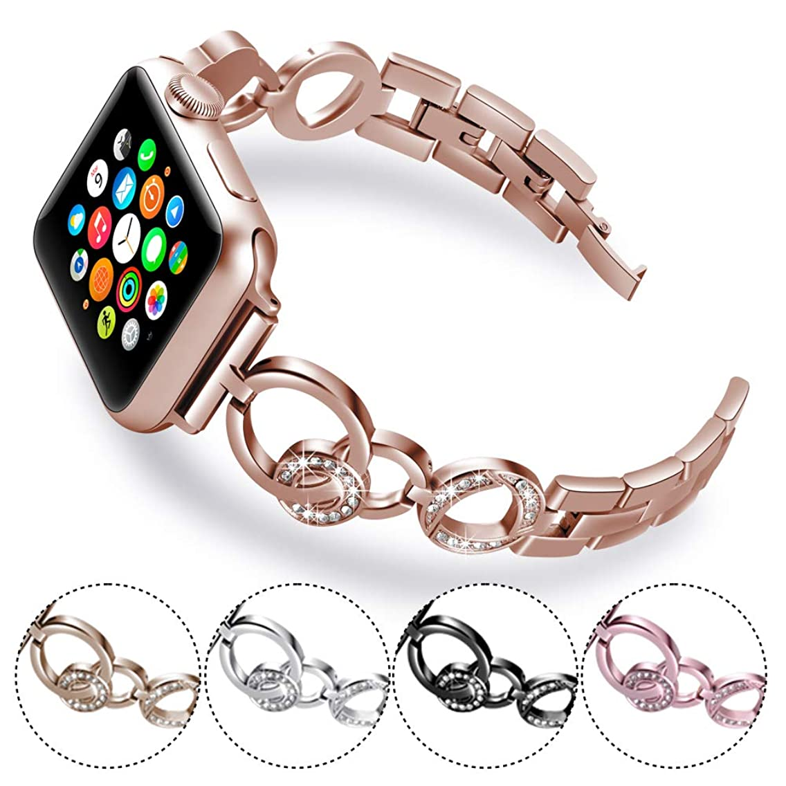 KARBYE Slim Women Band Compatible for Apple Watch Band 42mm 44mm Rose Gold for Series 4/3/2/1, Glitter Iwatch Bands Compatible for Apple Watch Bracelet 42mm 44mm for Women (Rose Gold)