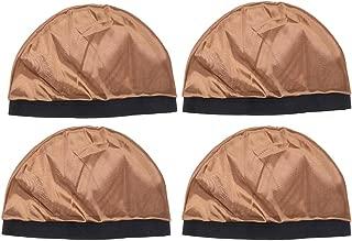 Healifty Wig Cap Silk Sleeping Cap Hair Loss Cap 4Pcs(Khaki)