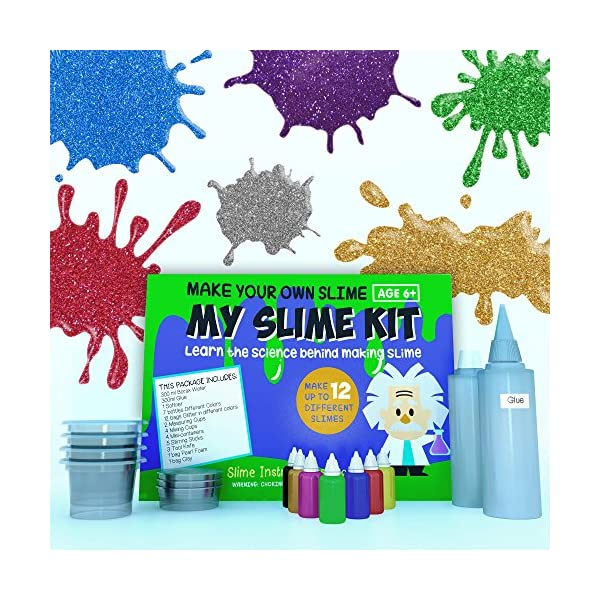 Make Your Own Slime! Kit W/ Containers & Lids, Clay, Foam Beads, Glue, Glitter Powders with Accessories! Recipes for Making Color and Different Types of Slime How to Make Slime Recipes Included 6